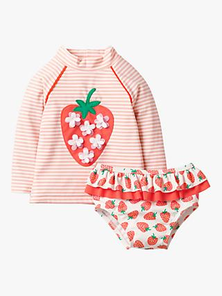 Mini Boden Baby Sun Safe Strawberry Rash Vest and Knickers Set, Ivory/Boto Pink