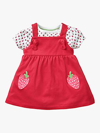 Mini Boden Baby Strawberry Jersey Pinafore and T-Shirt Set, Red