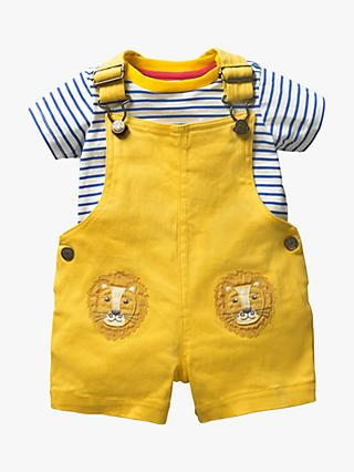 Mini Boden Baby Lion Patch Dungaree Set, Daffodil Yellow