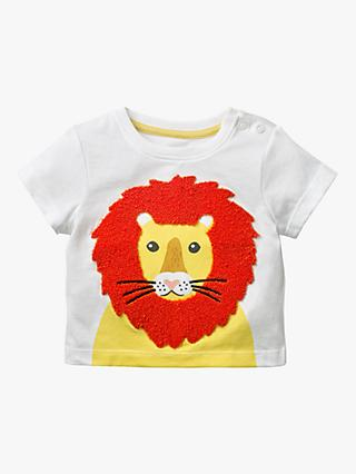 Mini Boden Baby Bouclé Lion T-Shirt, White