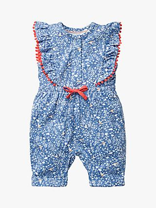 Mini Boden Baby's Floral Birdsong Jumpsuit, Sea Blue