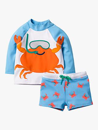 Mini Boden Baby Novelty Crab Rashie Vest and Shorts Set, Cloudy Blue