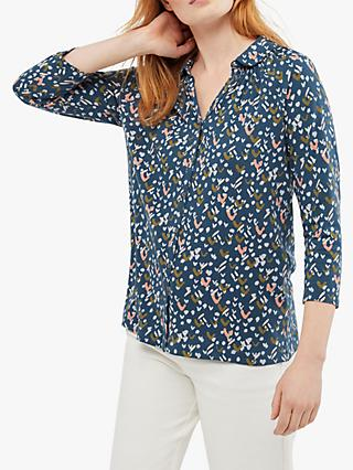 White Stuff Flute Sleeve Shirt, Artist Teal Print