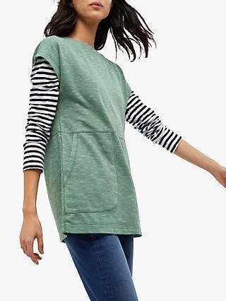 White Stuff Willow Tunic Top, Dusted Green Plain