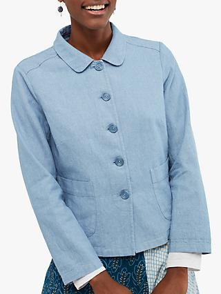 White Stuff Melody Linen Cotton Jacket, Light Blue