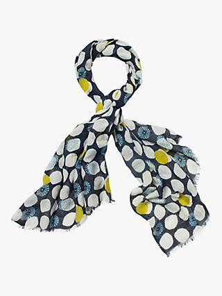 White Stuff Lori Print Scarf, Dusted Navy