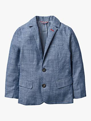 Mini Boden Boys' Smart Blazer, Mid Blue Chambray