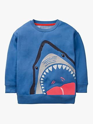Mini Boden Boys' Shark Superstitch Sweatshirt, Sky Blue