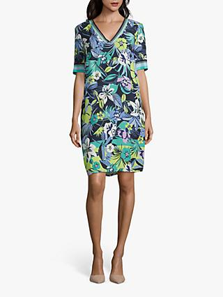 Betty Barclay Leaf Print Shift Dress, Dark Blue/Green