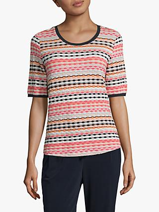 Betty Barclay Short Sleeve Striped Waffle T-Shirt, Red/Rosè