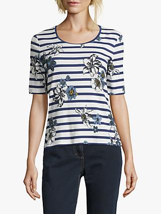Betty Barclay Floral Stripe Top, Blue/Cream