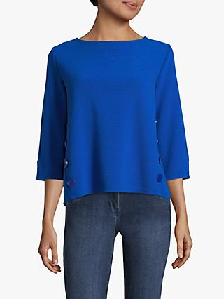 Betty Barclay Button Trim Top, Adria Blue