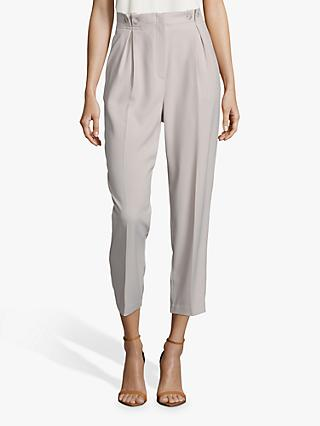 Betty Barclay Button Waist Cropped Trousers, Light Beige