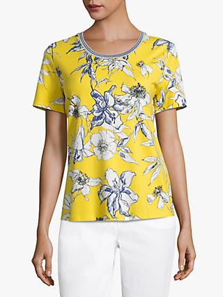 Betty Barclay Floral Round Neck T-Shirt, Yellow/Blue