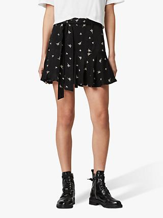 AllSaints Frida Bamboo Skirt, Black