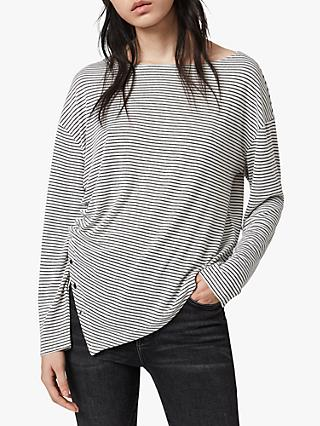 AllSaints Hatti Stripe Long Sleeved Top, Chalk/Charcoal
