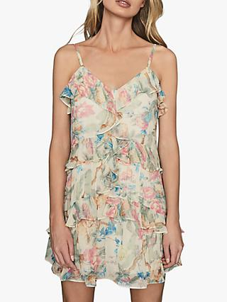 Reiss Ida Strappy Floral Ruffle Mini Dress, Multi