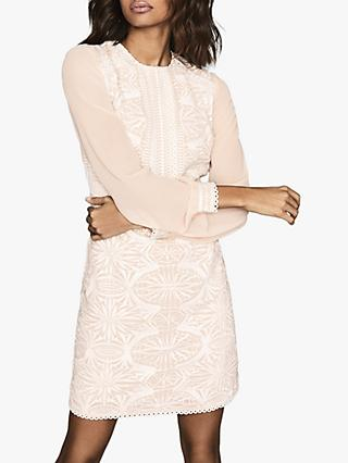 Reiss Aria Sheer Sleeve Lace Mini Dress, Neutral