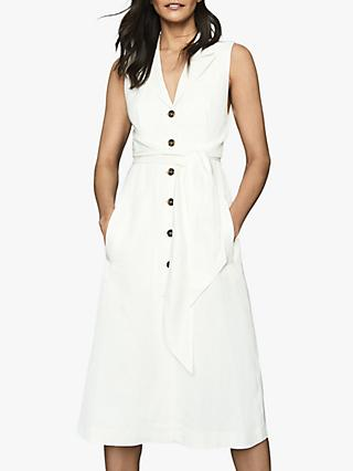 Reiss Rosalind Belted Midi Dress, White