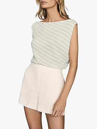 Reiss Bex Drape Neck Stripe Top, Stone