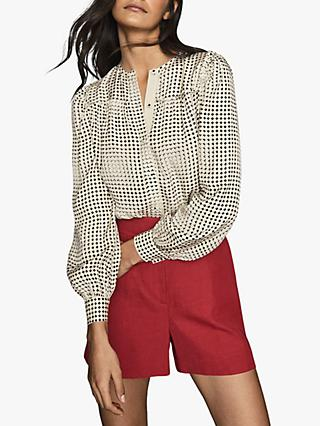Reiss Joanie Spotted Printed Blouse, Black/White