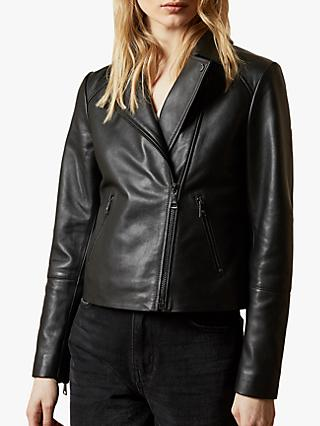 Ted Baker Janeal Leather Biker Jacket, Black