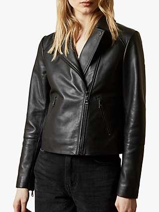 Ted Baker Janeal Leather Biker Jacket, Black