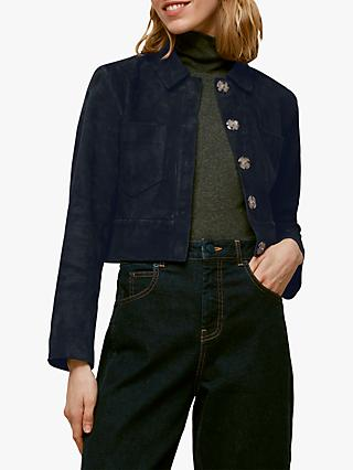 Whistles Selena Cropped Suede Jacket, Navy