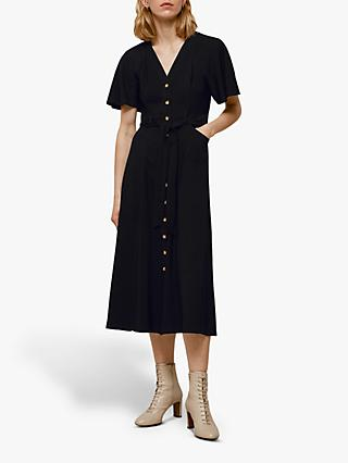Whistles Anita Frill Sleeve Shirt Dress, Black