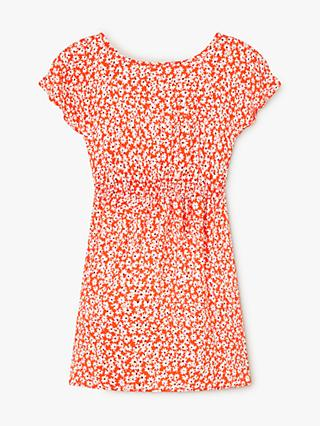John Lewis & Partners Girls' Floral Print Tie Back Dress, Red