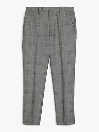 Kin Italian Super 110s Wool Check Slim Fit Suit Trousers, Black