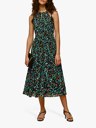 Whistles Florest Floral Halter Dress, Blue/Multi