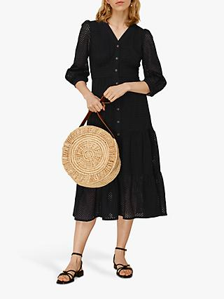 Whistles Sara Midi Broderie Cotton Dress, Black