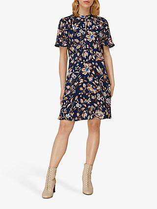 Whistles Prairie Blossom Print Mini Dress, Blue/Multi