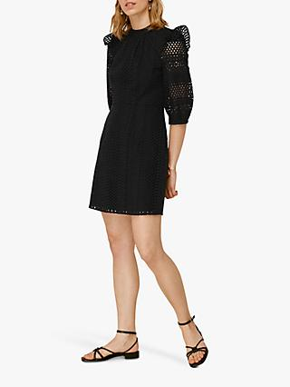 Whistles Frill Broderie Lace Dress, Black