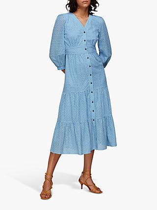 Whistles Sara Broderie Midi Dress, Pale Blue