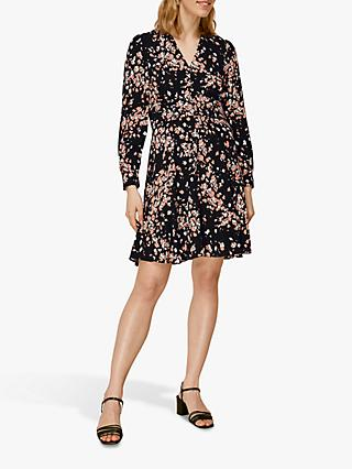 Whistles Mottled Animal Button Dress, Pink/Multi