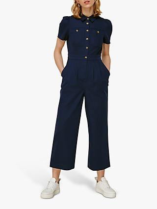 Whistles Emma Pocket Jumpsuit, Dark Denim