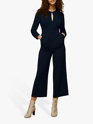 Whistles Petra Cropped Wide Leg Jumpsuit, Navy