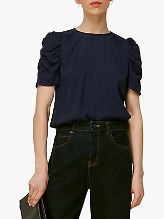 Whistles Nelly Ruched Sleeve Shell Top, Navy