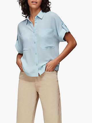 Whistles Textured Short Sleeve Blouse, Pale Blue