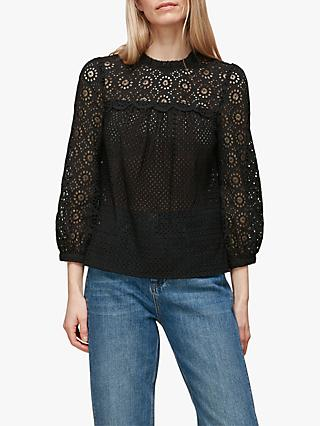 Whistles Sara Mixed Broderie Top, Black