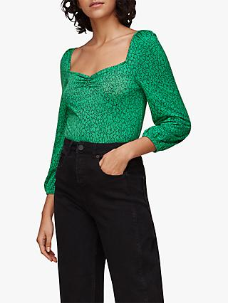 Whistles Sketched Floral Top, Green/Black