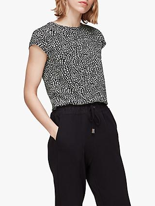 Whistles Abstract Print Top, Black/White