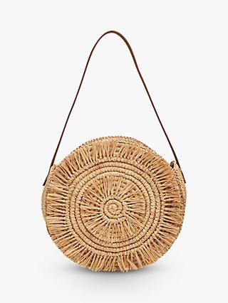 Whistles Lottie Straw Round Tote Bag, Brown