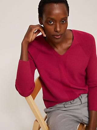 John Lewis & Partners Textured V-Neck Sweater