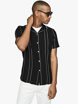 Reiss Vamos Short Sleeve Stripe Shirt, Black