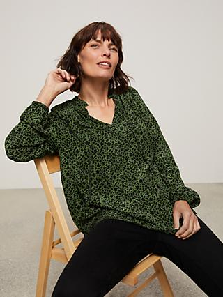 John Lewis & Partners Abstract Print Ruffle Neck Blouse, Green/Black