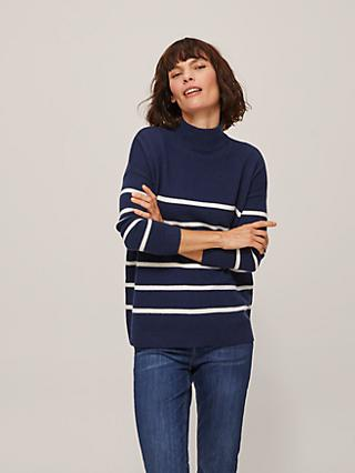 John Lewis & Partners Cashmere Stripe Turtle Neck Jumper
