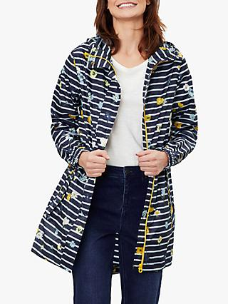 Joules Golightly Floral Stripe Waterproof Packaway Jacket, Meadow
